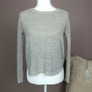 Paper Crane Rounded Hem Crop Marled Sweater A6